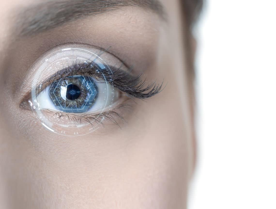 Close up of an Eye with a Hologram